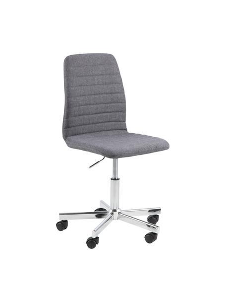 Bürodrehstuhl Amanda, höhenverstellbar, Bezug: Polyester, Beine: Metall, verchromt, Rollen: Kunststoff, Grau, Chrom, B 61 x  T 52 cm