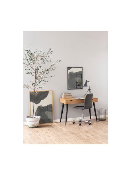 Sedia da ufficio girevole Amanda, Rivestimento: poliestere, Gambe: metallo cromato, Ruote: plastica, Grigio, cromo, Larg. 61 x Prof. 52 cm