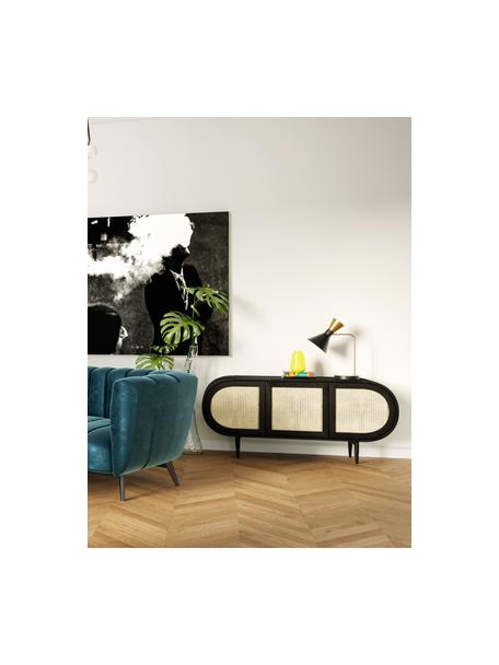 Dressoir Exalt met Weens vlechtwerk, Plank: massief eikenhout, rotan,, Poten: gecoat metaal, Zwart, beige, 165 x 74 cm