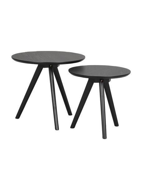 Set de mesas auxiliares Yumi, 2uds., Tablero: fibras de densidad media , Patas: madera de caucho maciza y, Marrón, Set de diferentes tamaños