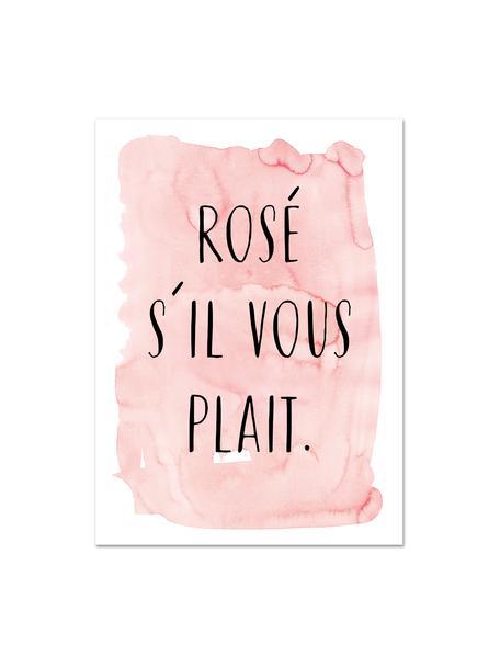 Poster S'il Vous Plait, Digitale print op papier, 200 g/m², Roze, zwart, wit, 21 x 30 cm