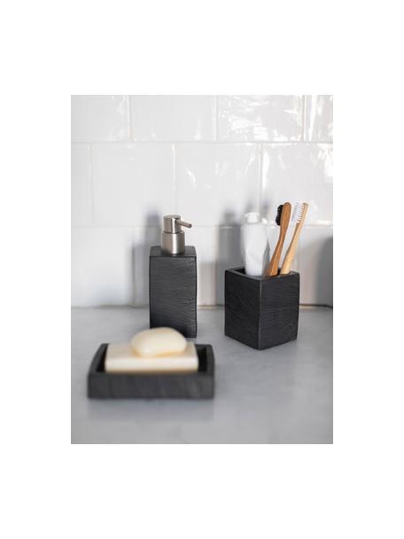 Dispenser sapone Slate, Contenitore: poliresina, Testa della pompa: materiale sintetico, Nero, Larg. 7 x Alt. 17 cm