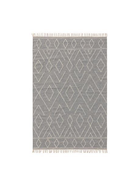 Handgewebter Boho-Baumwollteppich Sydney mit Fransen, 60% Baumwolle, 40% Wolle, Hellgrau, Creme, B 80 x L 150 cm (Größe XS)