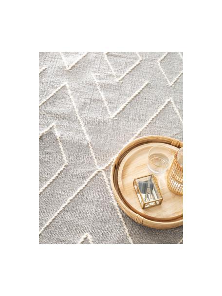 Handgewebter Boho-Teppich Sydney mit Fransen, 60% Baumwolle, 40% Wolle, Hellgrau, Creme, B 80 x L 150 cm (Größe XS)