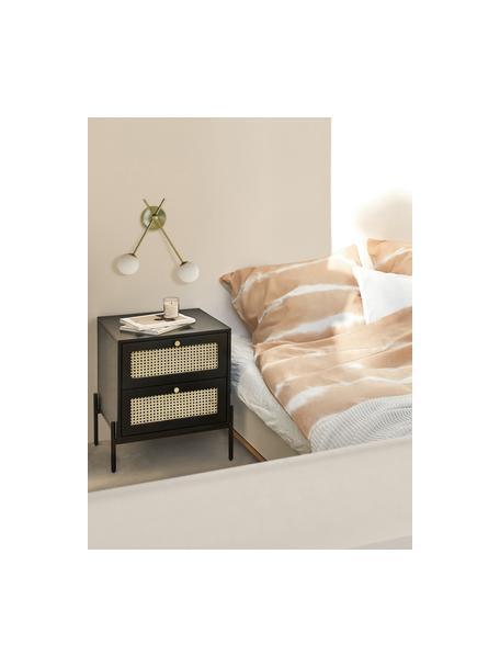 Nachttisch Vienna mit Schubladen, Korpus: Massives Mangoholz, lacki, Füße: Metall, pulverbeschichtet, Schwarz, Beige, 45 x 55 cm