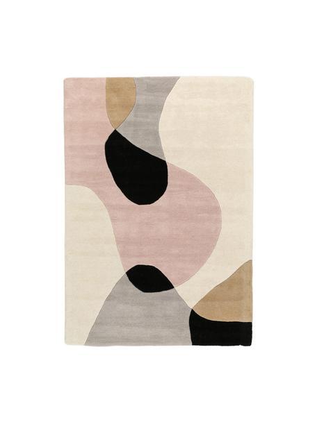 Tappeto in lana taftato a mano con motivo geometrico Matrix Arc, Retro: 100% cotone Nel caso dei , Tonalità beige, rosa, grigio chiaro, nero, Larg. 120 x Lung. 170 cm (taglia S)