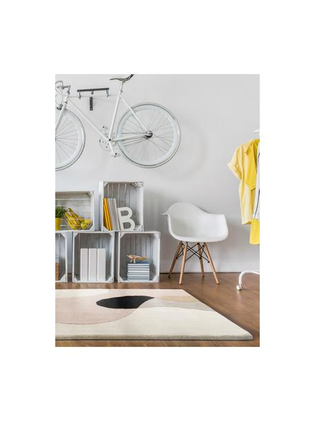 Handgetuft wollen vloerkleed Matrix Arc met geometrisch patroon, Bovenzijde: 100% wol, Onderzijde: 100% katoen Bij wollen vl, Beigetinten, roze, lichtgrijs, zwart, B 120 x L 170 cm (maat S)