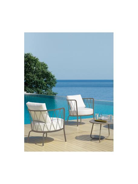 Garten-Loungesessel Sunderland mit Sitzpolster, Gestell: Stahl, galvanisch verzink, Bezug: Polyacryl, Gestell: Taupe Sitz- und Rückenkissen: Creme, 74 x 73 cm