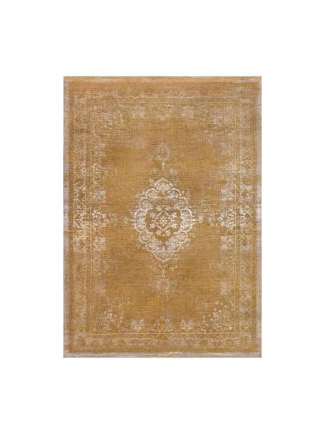 Vintage chenille vloerkleed Medaillon, Bovenzijde: 100% chenille (katoen), Weeftechniek: jacquard, Onderzijde: chenille, gecoat met late, Geel, B 80 x L 150 cm (maat XS)