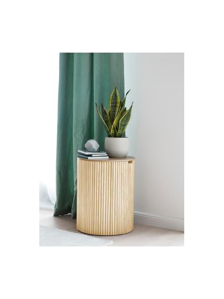 Mesa auxiliar de madera Nele, con función de almacenamiento, Tablero de fibras de densidad media(MDF) chapado en madera de fresno, Beige, Ø 40 x Al 51 cm