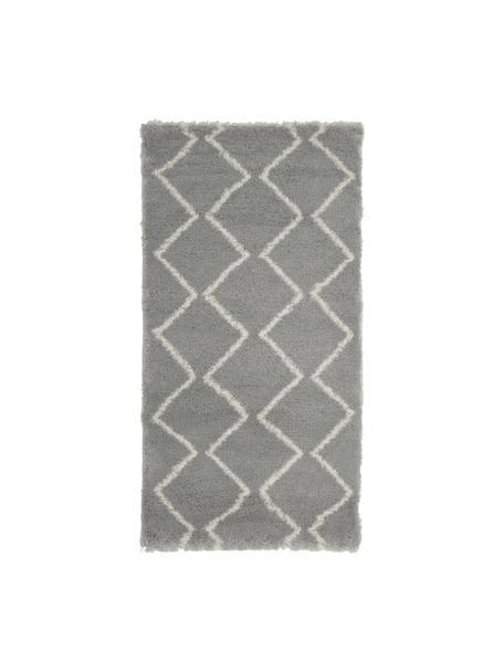 Hochflor-Teppich Velma in Grau/Cremeweiß, Flor: 100% Polypropylen, Grau, Cremeweiß, B 80 x L 150 cm (Größe XS)