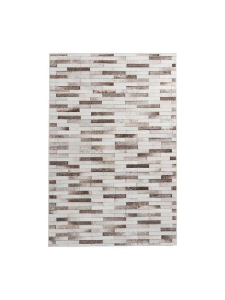 Vloerkleed My Bonanza in patchwork leeroptiek, Bovenzijde: 100% polyester, Onderzijde: katoen, Beige- en bruintinten, B 80 x L 150 cm (maat XS)