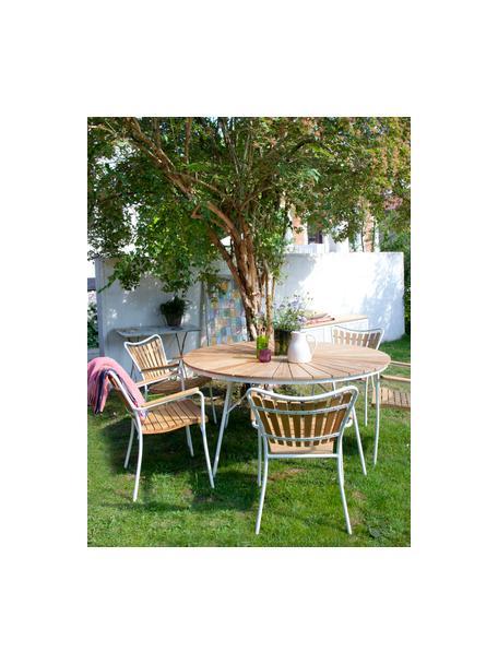 Krzesło ogrodowe z podłokietnikami  Hard & Ellen, Stelaż: aluminium malowane proszk, Biały, drewno tekowe, S 56 x W 78 cm