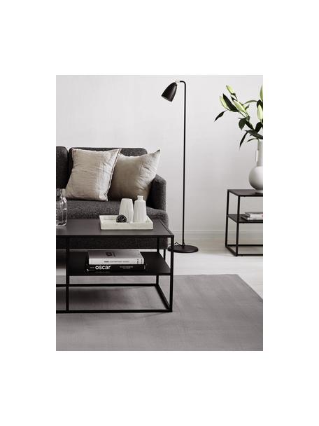 Wollen vloerkleed Ida in grijs, Bovenzijde: 100% wol, Onderzijde: 60% jute, 40% polyester B, Grijs, B 60 x L 110 cm (maat XS)