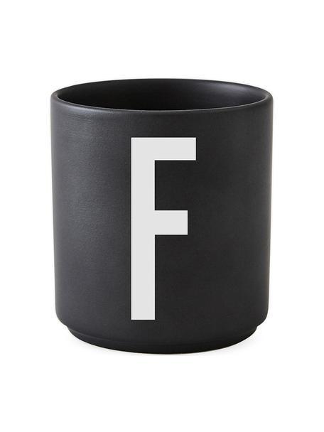 Taza de diseño Personal (variantes de A a Z), Porcelana fina de hueso (porcelana) Fine Bone China es una pasta de porcelana fosfática que se caracteriza por su brillo radiante y translúcido., Negro mate, blanco, Taza F