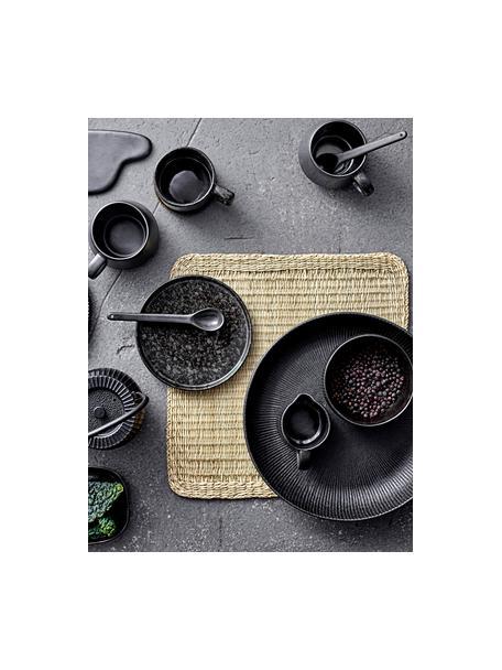 Set de cucharas de gres Leah, 2uds., Gres, Negro, L 18 cm