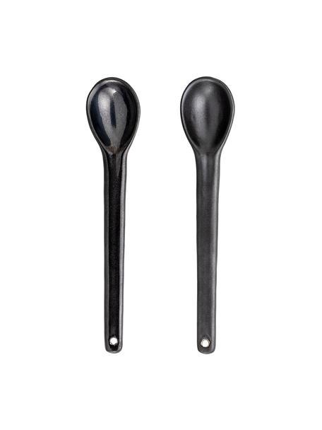 Set 2 cucchiaini in gres Leah, Gres, Nero, Lung. 18 cm