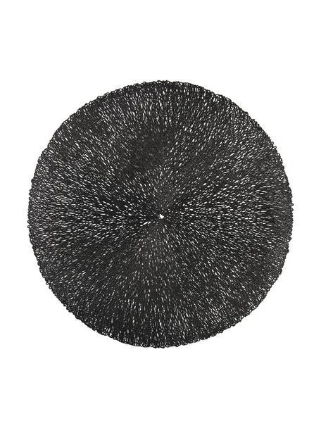 Runde Tischsets Sous in Schwarz aus Metall, 2 Stück, Metall, Schwarz, Ø 38 cm