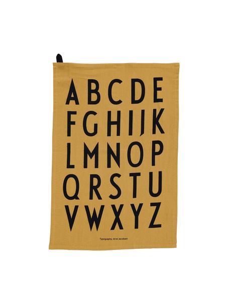 Katoenen theedoeken Classic in geel met design letters, 2 stuks, Katoen, Honinggeel, zwart, 40 x 60 cm