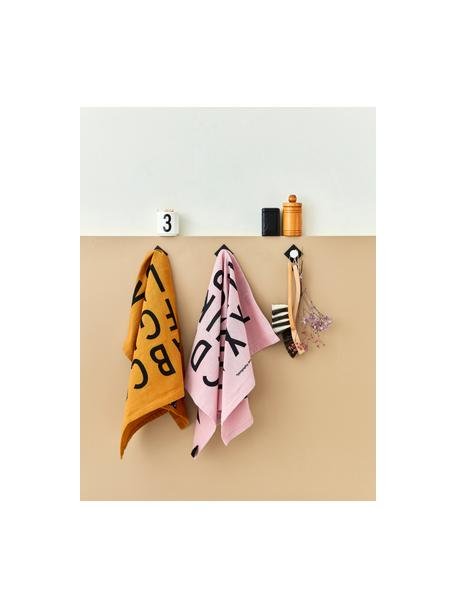 Ręcznik kuchenny z bawełny Classic, 2 szt., Bawełna, Miodowy, czarny, S 40 x D 60 cm