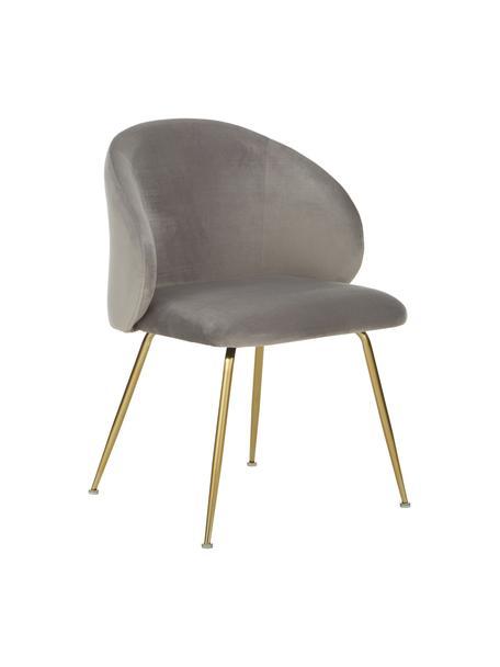 Fluwelen stoelen Luisa, 2 stuks, Poten: gelakt metaal, Fluweel lichtgrijs, goudkleurig, B 61 x D 58 cm