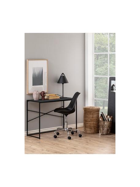 Schmaler Schreibtisch Seaford aus Holz und Metall, Gestell: Metall, pulverbeschichtet, Tischplatte: Mitteldichte Holzfaserpla, Schwarz, B 100 x T 45 cm