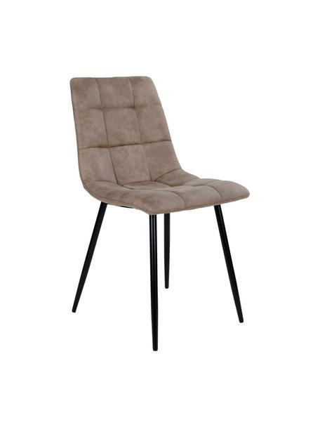 Krzesło tapicerowane z mikrofibry Middleton, Tapicerka: mikrofibra, Nogi: metal powlekany, Jasny brązowy, czarny, S 44 x G 55 cm