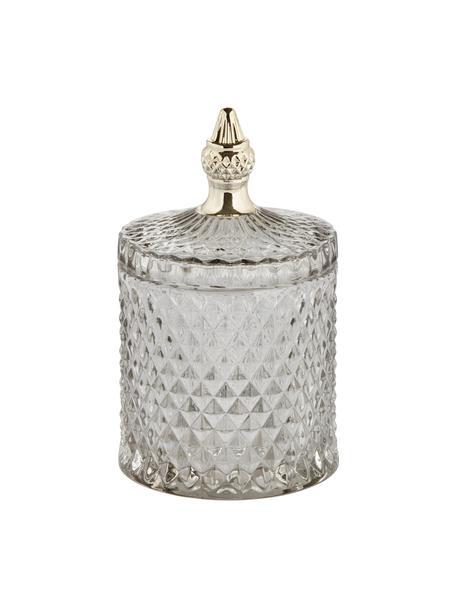 Pojemnik do przechowywania Miya, Szklanka, Szary, transparentny, odcienie złotego, Ø 10 x W 18 cm