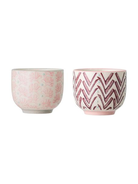 Set de tazas de café Maya, 2uds., Gres, Beige, rosa, lila, azul, Ø 6 x Al 5 cm