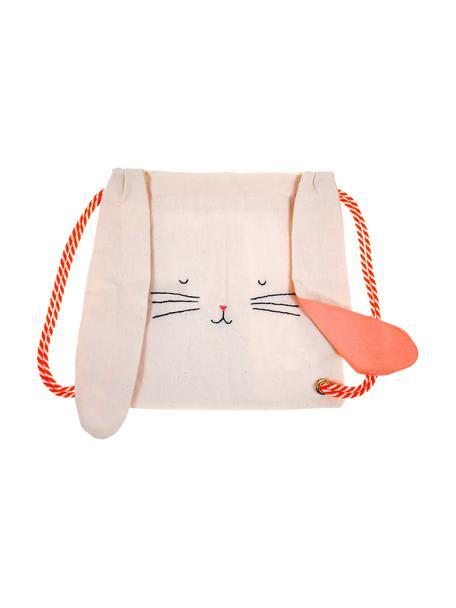 Zaino coniglietto per bambini in lino Bunny, Lino, Rosa, rosso, nero, Larg. 30 x Alt. 33 cm