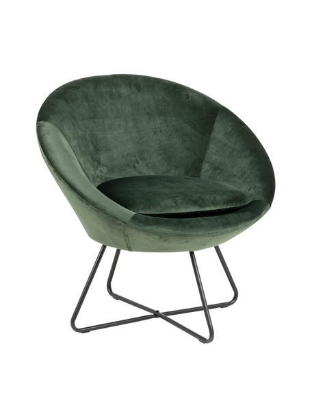 Fotel koktajlowy z aksamitu Center, Tapicerka: aksamit poliestrowy Dzięk, Stelaż: metal malowany proszkowo, Zielony, czarny, S 82 x G 71 cm
