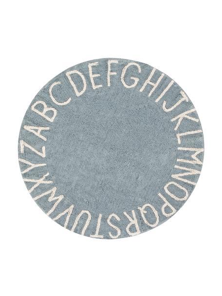 Tappeto rotondo con design a lettere ABC, Retro: cotone riciclato, Blu, beige, Ø 150 cm (taglia M)
