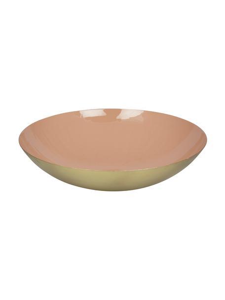 Serveerschaal Julienne, Ø 34 cm, Gecoat metaal, Binnenzijde: roze. Buitenzijde: goudkleurig, Ø 34 x H 9 cm