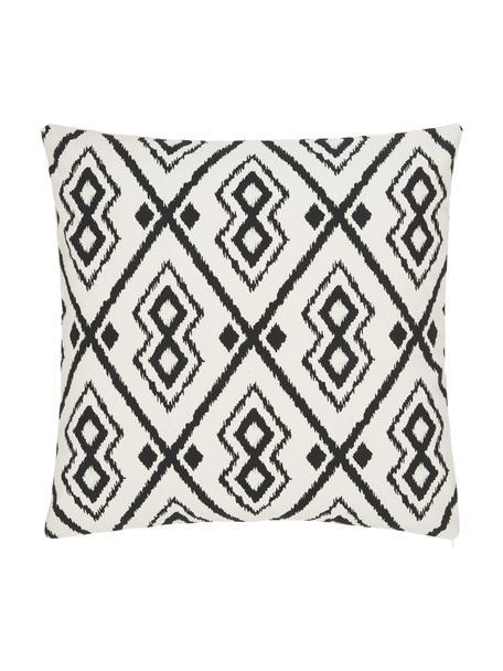 Funda de cojín Delilah, 100%algodón, Blanco, negro, An 45 x L 45 cm