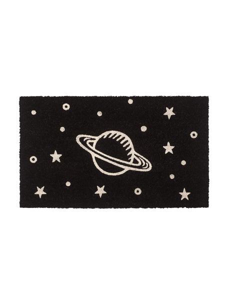 Zerbino con motivo spaziale Glow, Fibra di cocco, Nero, bianco, Larg. 45 x Lung. 75 cm