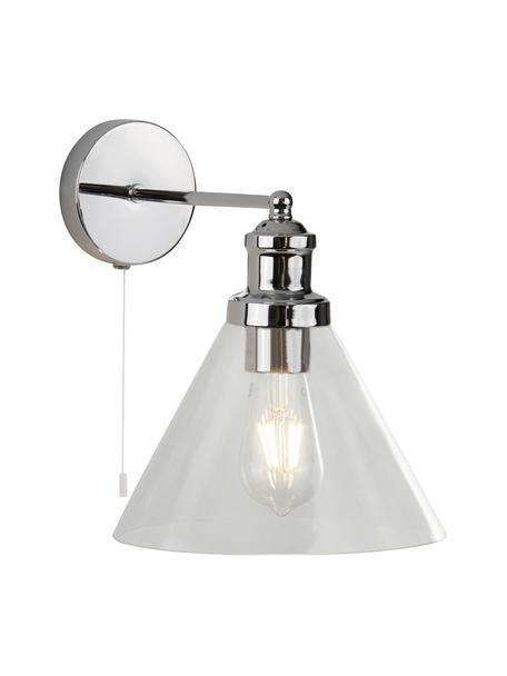 Applique con paralume in vetro Pyramid, Paralume: vetro, Struttura: metallo cromato, Interruttore: materiale sintetico, Cromo trasparente, Larg. 19 x Alt. 25 cm