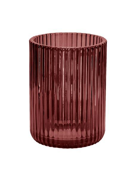 Vaso cepillo de dientes de vidrio Antoinette, Vidrio, Rojo caoba, Ø 8 x Al 10 cm