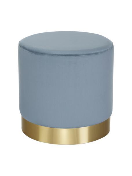 Puf de terciopelo Orchid, Tapizado: terciopelo (100%poliéste, Estructura: cartón, madera contrachap, Terciopelo azul claro, dorado, Ø 38 x Al 38 cm