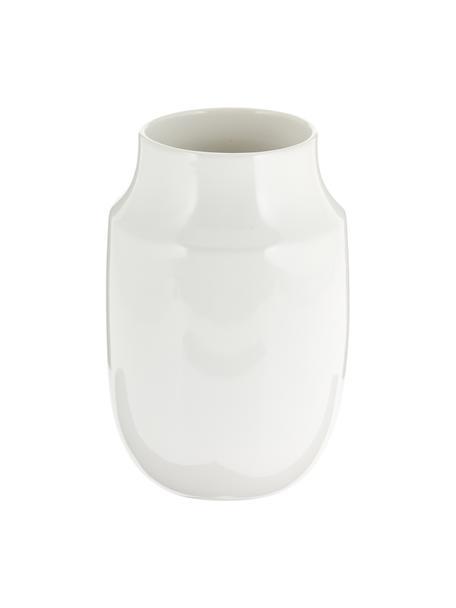 Jarrón artesanal Valeria, Cerámica, Blanco brillante, Ø 13 x Al 20 cm