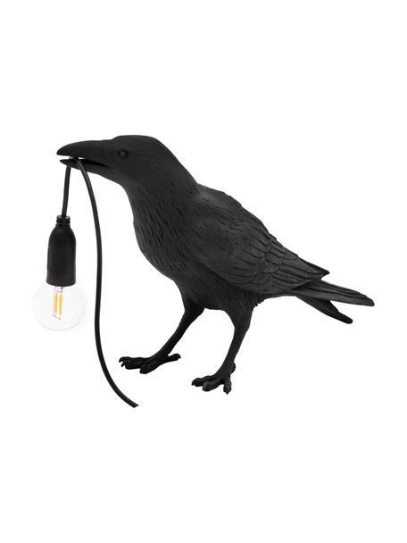 Lámpara de mesa pequeña de diseño Bird, Lámpara: resina, Cable: plástico, Negro, An 33 x Al 12