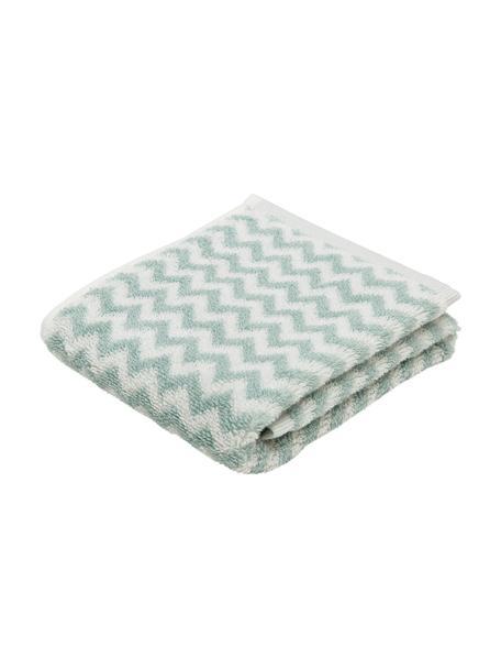 Asciugamano con motivo a zigzag Liv, 100% cotone, qualità media 550g/m², Verde menta, bianco crema, Asciugamano per ospiti