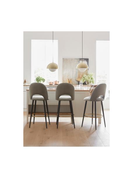 Fluwelen barstoel Rachel in grijs, Bekleding: fluweel (hoogwaardig poly, Poten: gepoedercoat metaal, Fluweel grijs, 48 x 110 cm