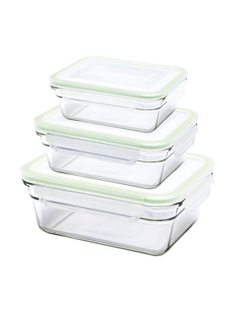 Komplet pojemników do przechowywania żywności Luna, 3elem., Transparentny, jasny zielony, Komplet z różnymi rozmiarami
