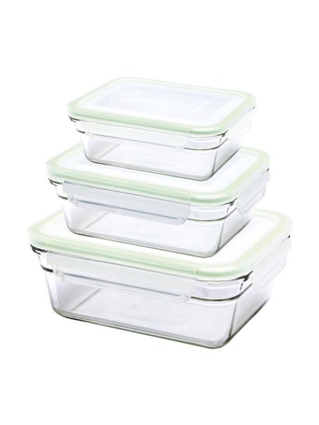 Set de recipientes herméticos Luna, 3pzas., Recipiente: vidrio templado, libre de, Transparente, verde claro, Set de diferentes tamaños