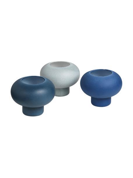 Komplet świeczników na podgrzewacze Agate, 3 elem., Porcelana, Odcienie niebieskiego, Ø 9 x W 7 cm