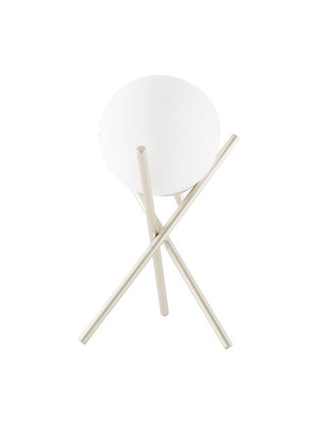 Kleine tripod tafellamp Erik met glazen lampenkap, Lampenkap: glas, Lampvoet: gelakt metaal, Wit, champagnekleurig, Ø 15 x H 33 cm