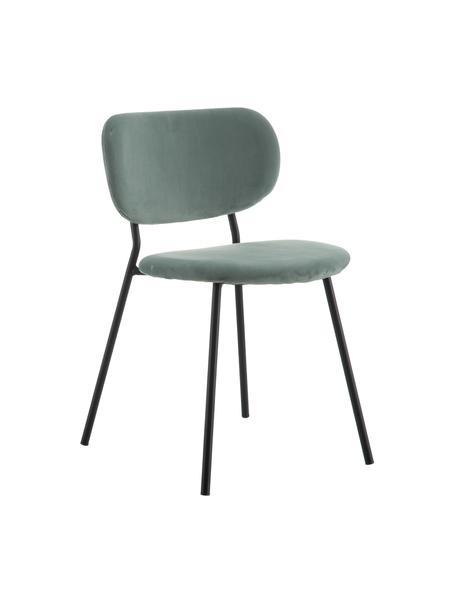 Sedia imbottita in velluto Elyse, Rivestimento: 100% velluto di poliester, Gambe: metallo, Verde menta, nero, Larg. 49 x Prof. 46 cm