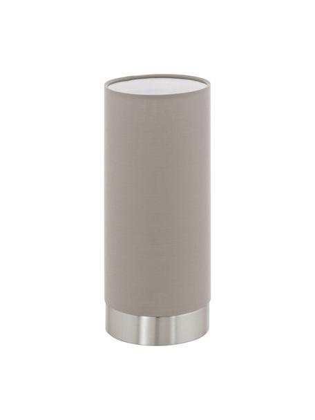 Kleine dimbare nachtlampje Pasteri, Lampenkap: polyester, Lampvoet: vernikkeld staal, Taupe, nikkelkleurig, Ø 12 x H 26 cm