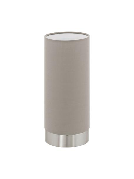 Lámpara de mesa pequeña regulable Pasteri, Pantalla: poliéster, Cable: plástico, Gris pardo, níquel, Ø 12 x Al 26 cm