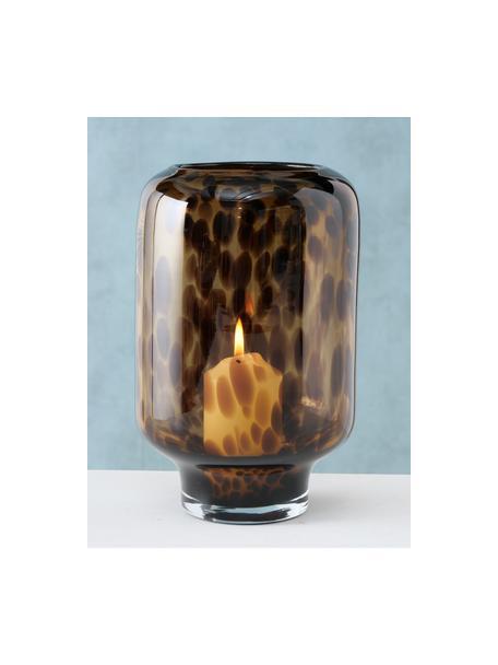 Windlicht Leopard, Glas, gefärbt, Brauntöne, Ø 14 x H 22 cm